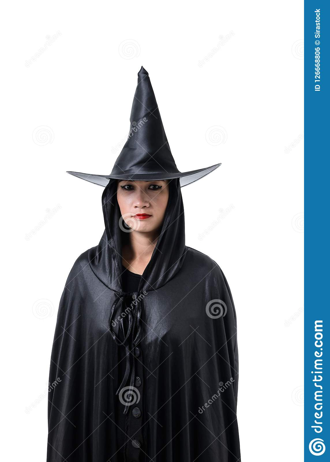 Portrait Of Woman In Black Scary Witch Halloween Costume Standing With Hat Isolated On White ...