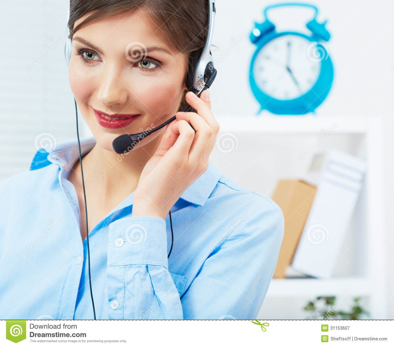 portrait of woman customer service worker call center smiling stock image image of. Black Bedroom Furniture Sets. Home Design Ideas