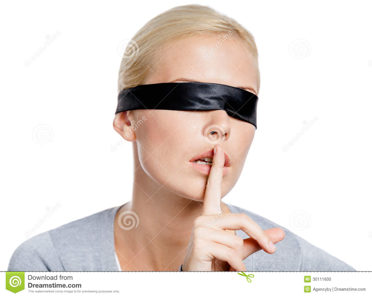 Girl With Eyes Covered With Black Ribbon Stock Photo
