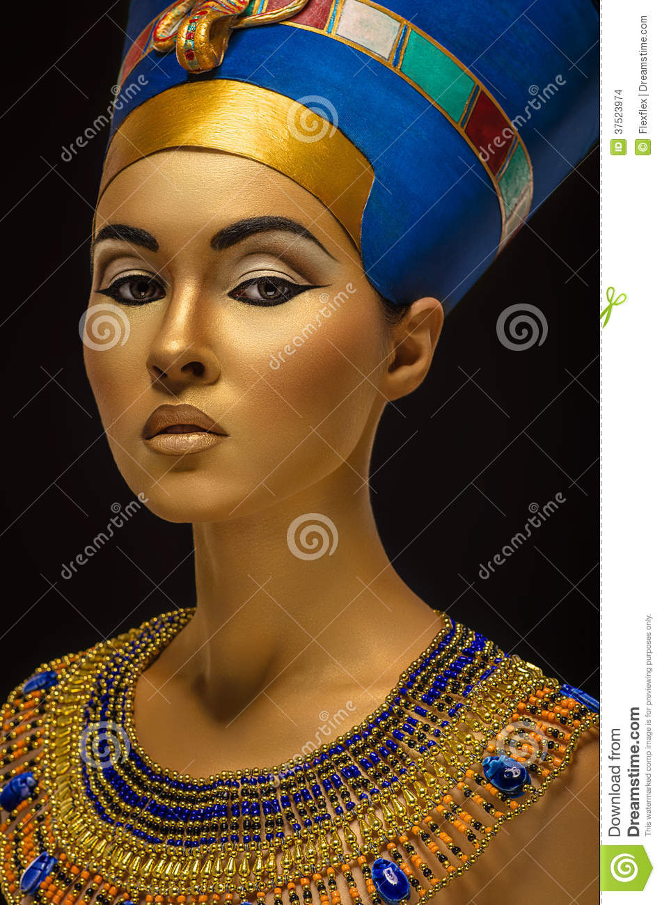 Portrait Of Woman With Golden Skin In Egyptian Style Stock Images ...