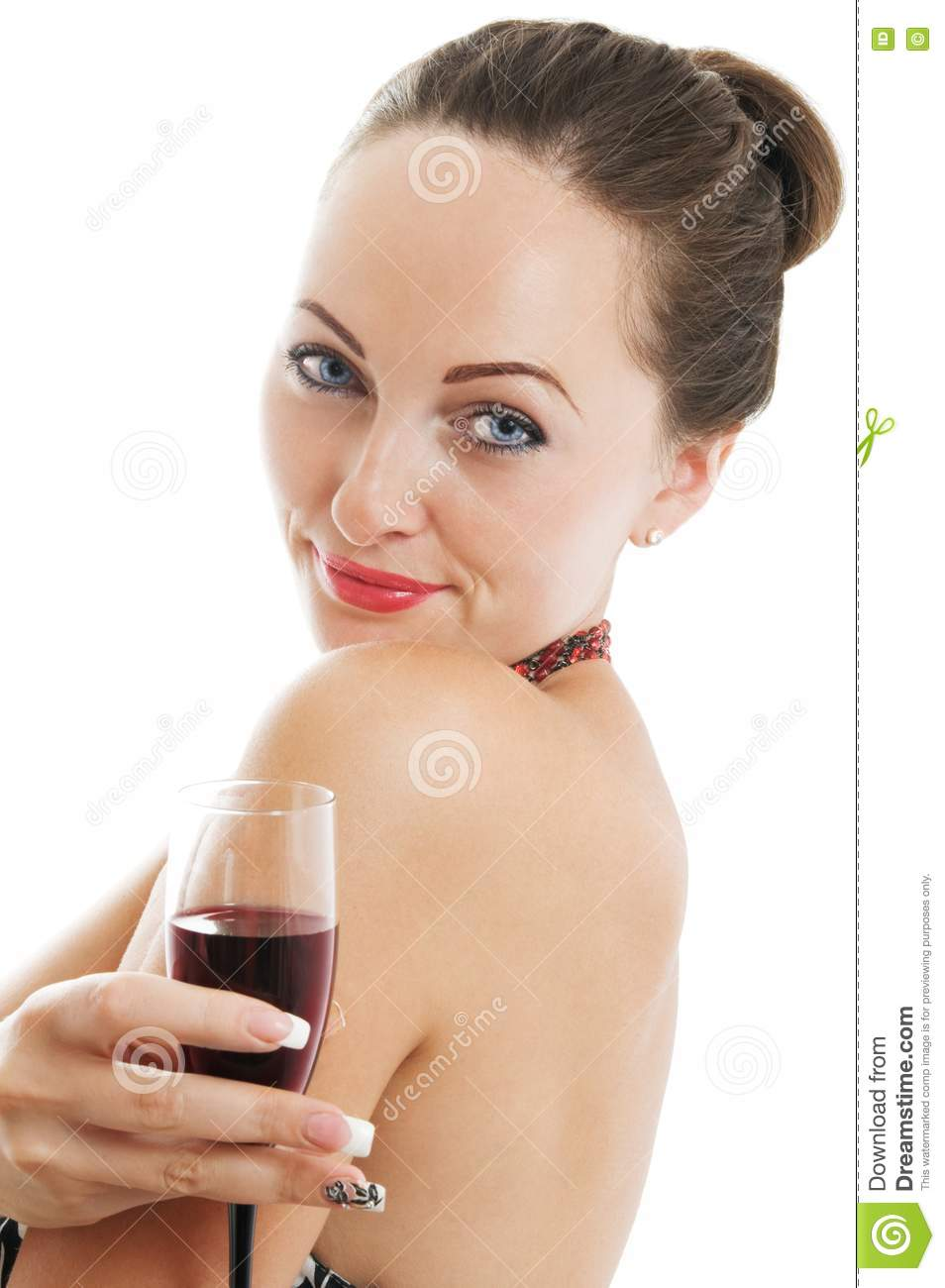 Portrait Of A Woman Holding A Glass Of Red Wine Royalty ...