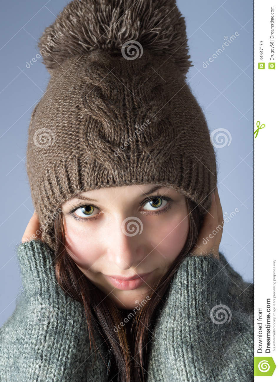 Portrait Of Woman In Knitted Hat Stock Image - Image of clothes ... 5072287a9f9