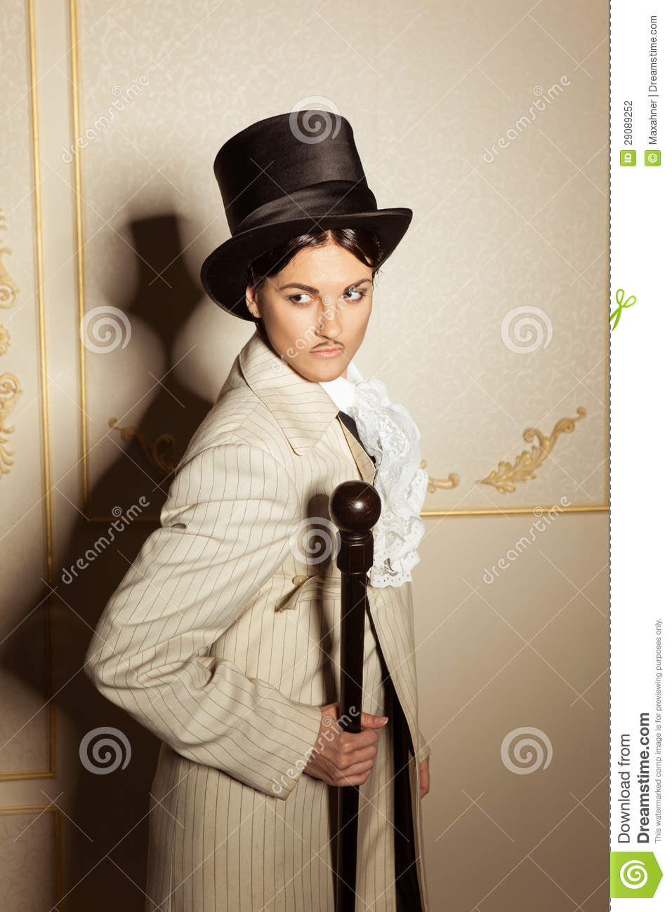Portrait Of Woman In Men 39 S Old Fashioned Clothing Stock
