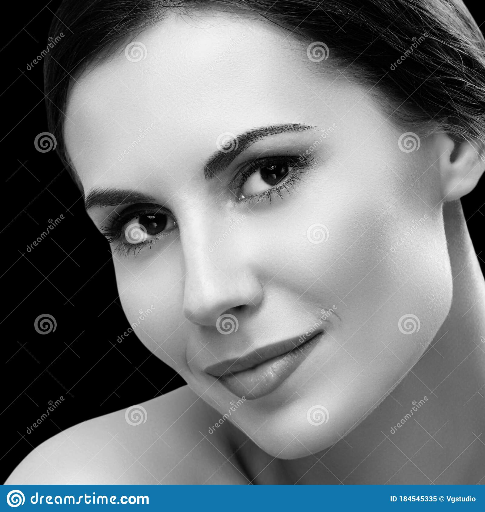 Portrait Beautiful Young Woman Naked Shoulders Stock Photo