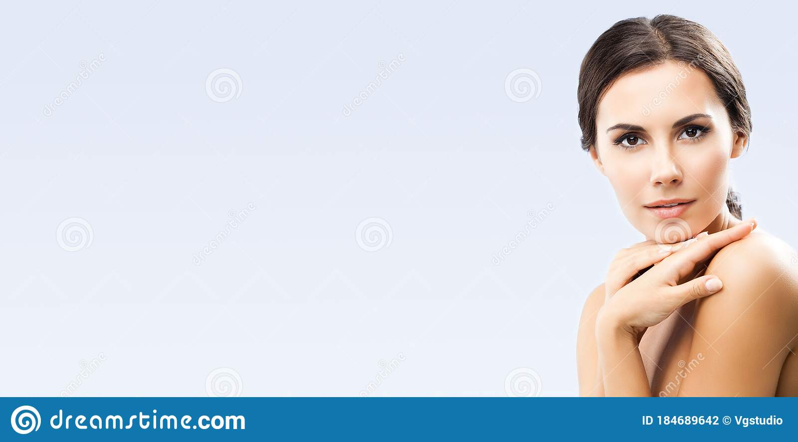 Woman With Naked Shoulders, On Blue Stock Image - Image of