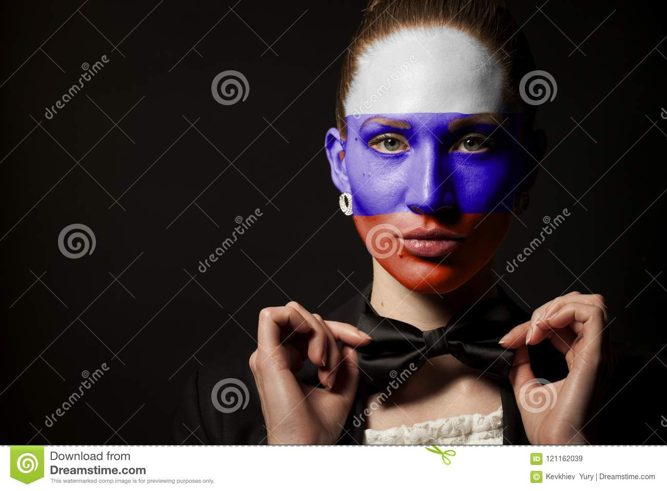 d13691c4c47 Portrait Of Woman With Painted Russian Flag And Bow Tie Stock Image ...