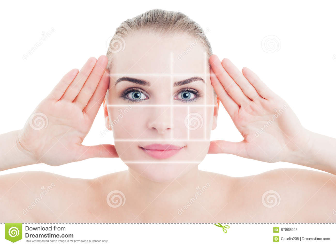 Portrait of woman with perfect skin divided by marks