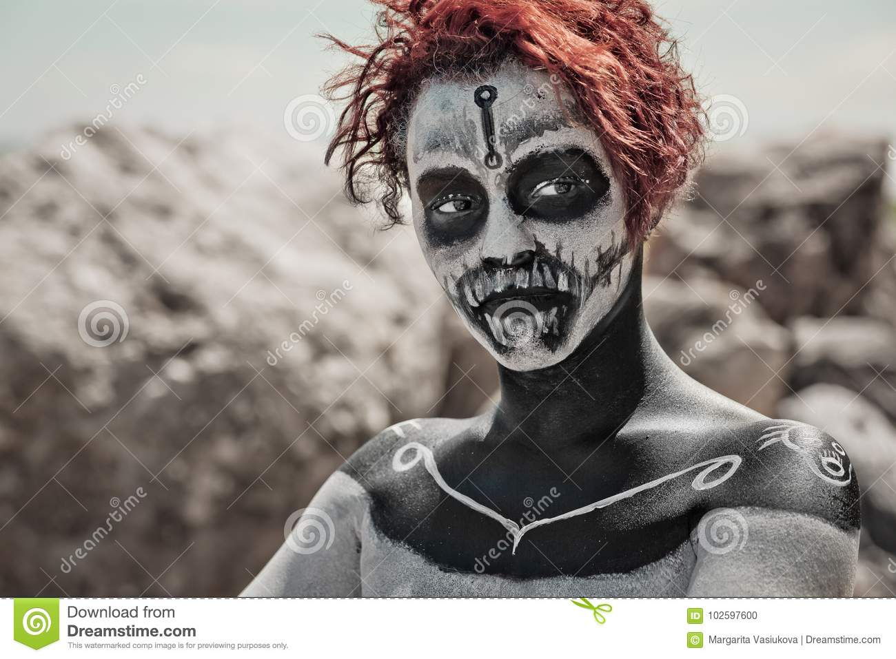 Portrait Of Woman With Red Hair And Make Up Halloween Style