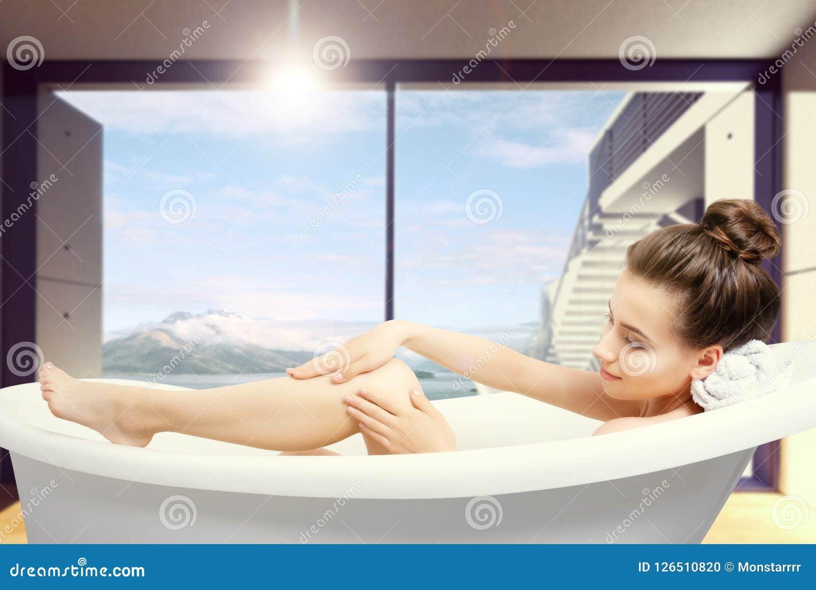 Portrait Of Woman Taking Spa Bath. Skin Beauty Health Care Concept ...