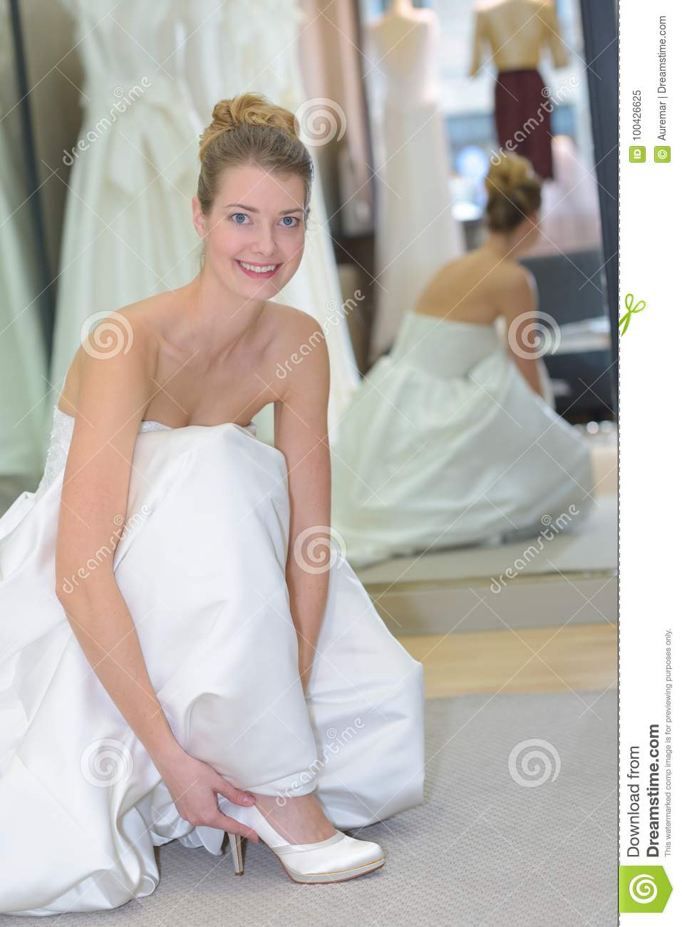 3cbca119dd572 Portrait Woman Trying On Wedding Shoes Stock Image - Image of size ...
