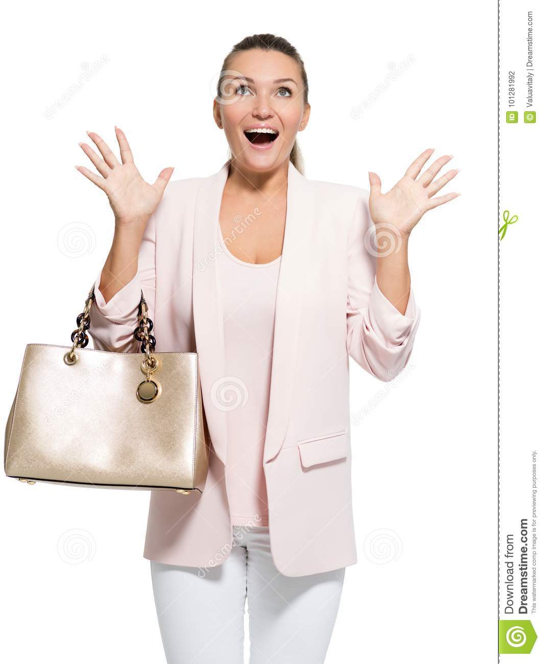 Portrait of a wondering happy woman over white background