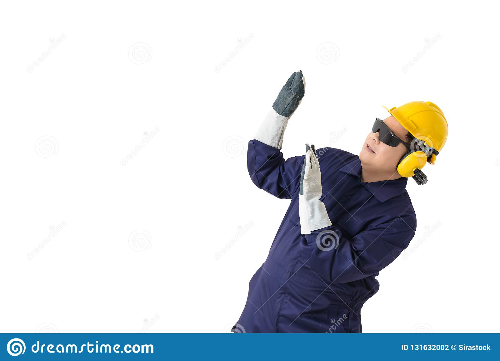 98844d35e3a Portrait Of A Worker In Mechanic Jumpsuit With Helmet