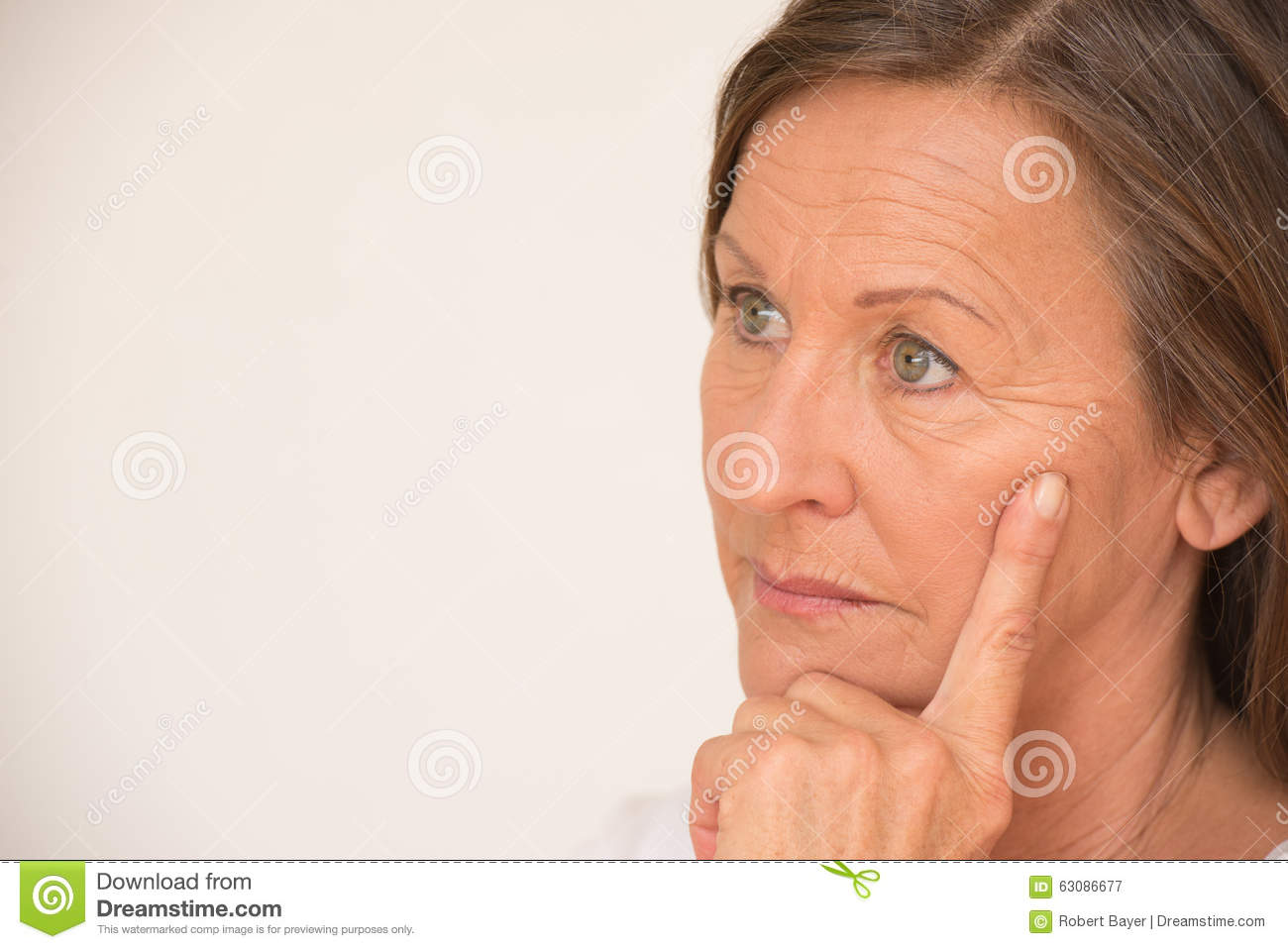 Portrait Worried Mature Woman Thinking Stock Photo - Image ...