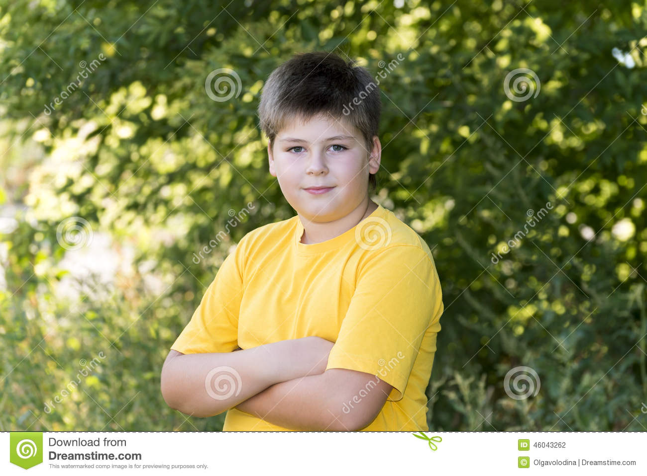 Portrait Of 10 Year Old Boy In Park Stock Photo Image Of Cute
