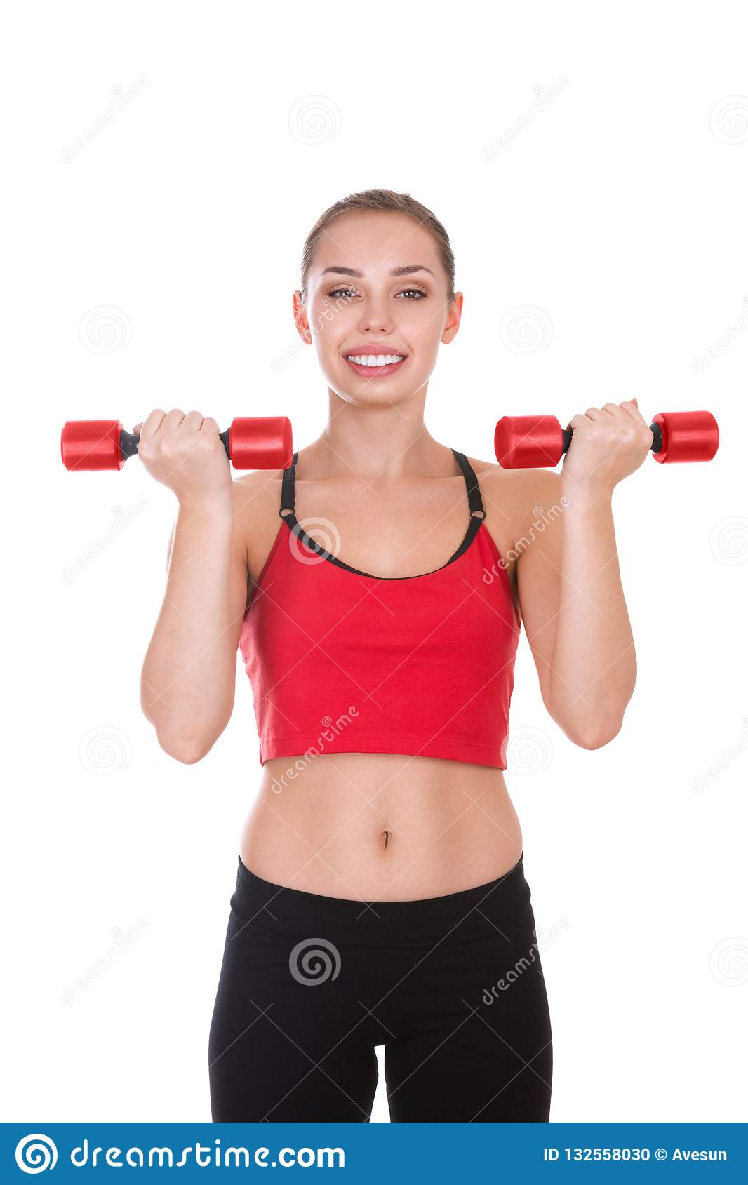 Portrait Of Young Woman With Dumbbells Stock Photo Image
