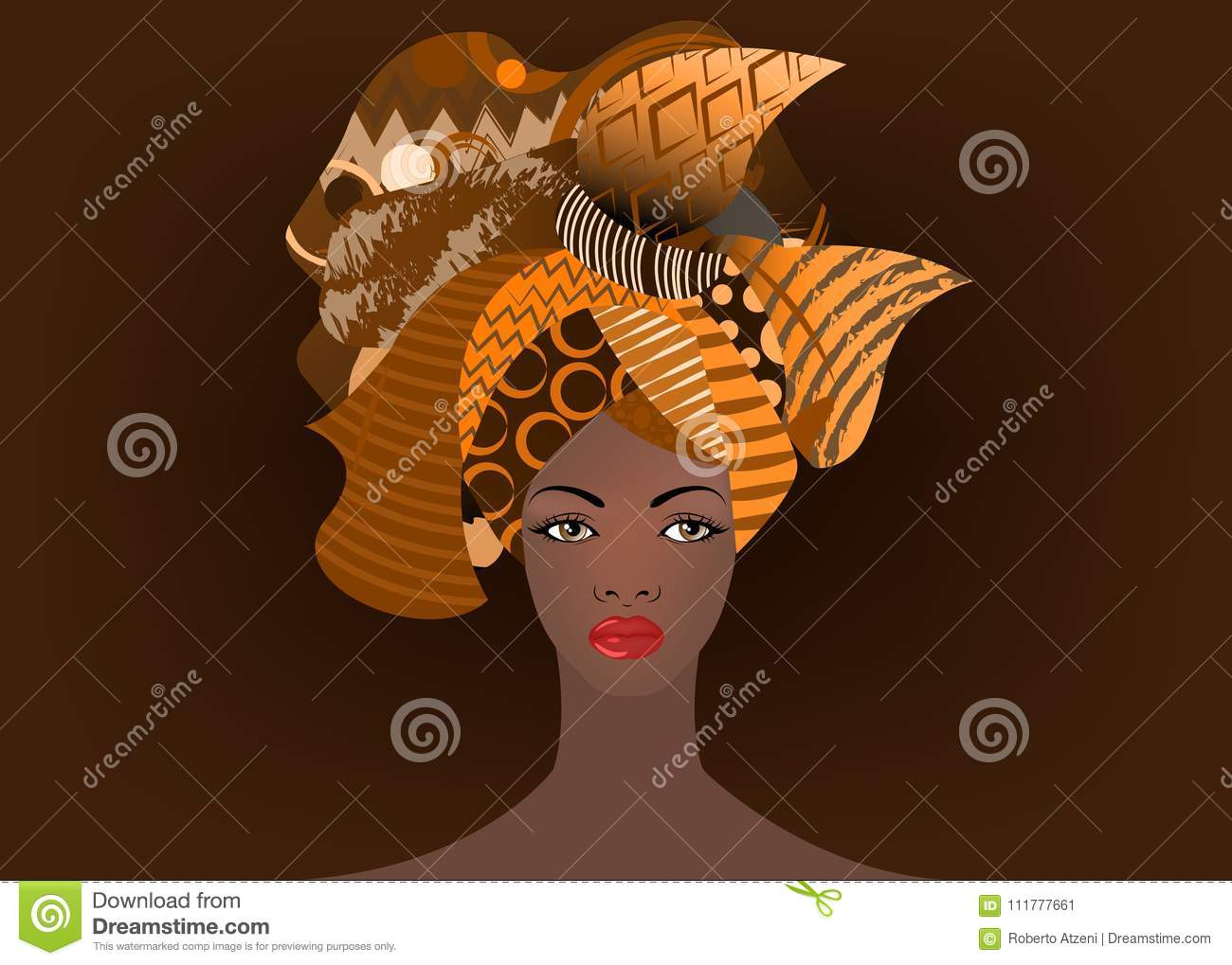 Portrait of the young African woman in a colorful turban. Wrap Afro fashion, Ankara, Kente, kitenge, African women dresses.