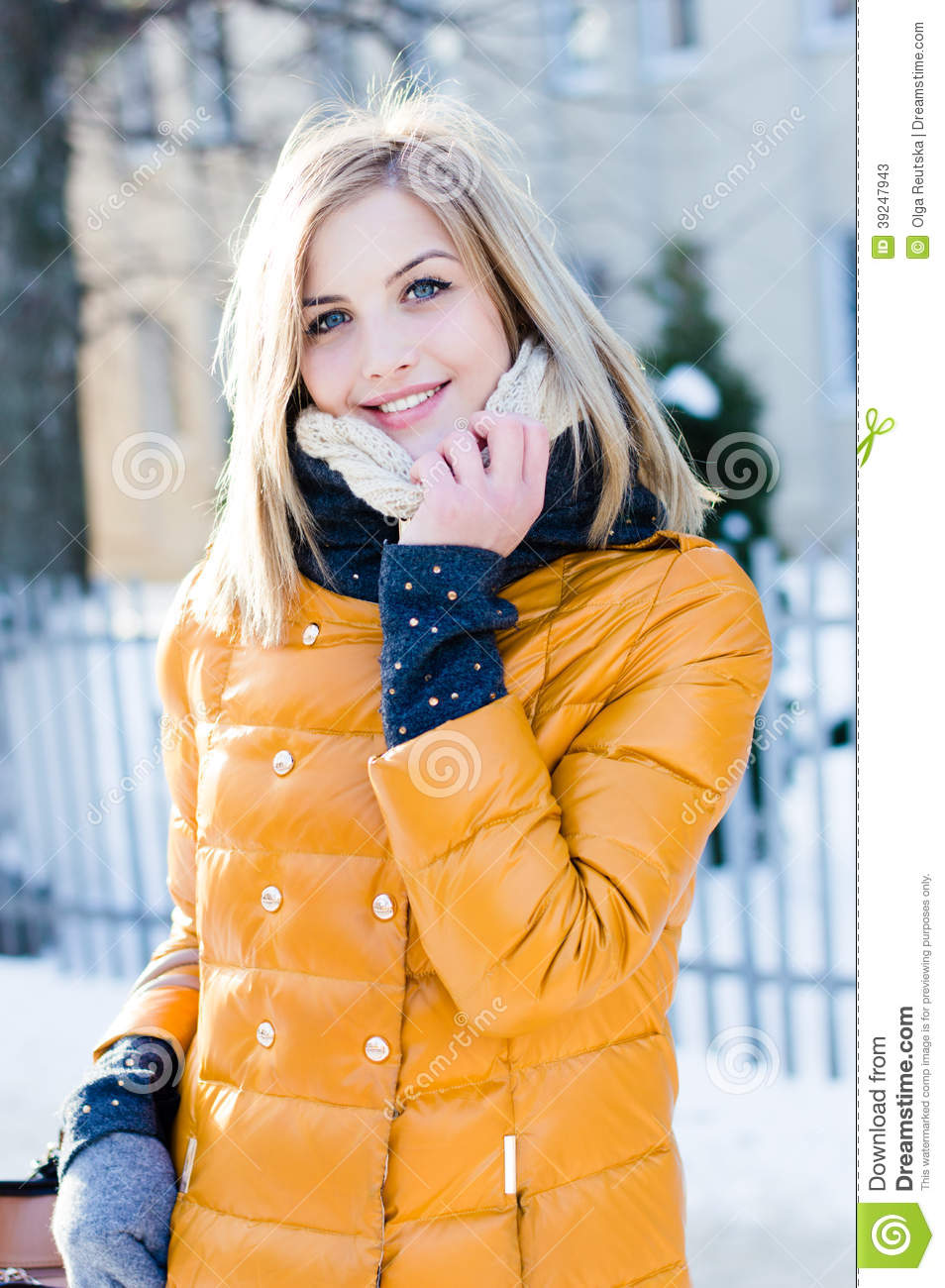 a175f3d12 Portrait Of Young Attractive Blond Woman In Winter In The Yellow ...