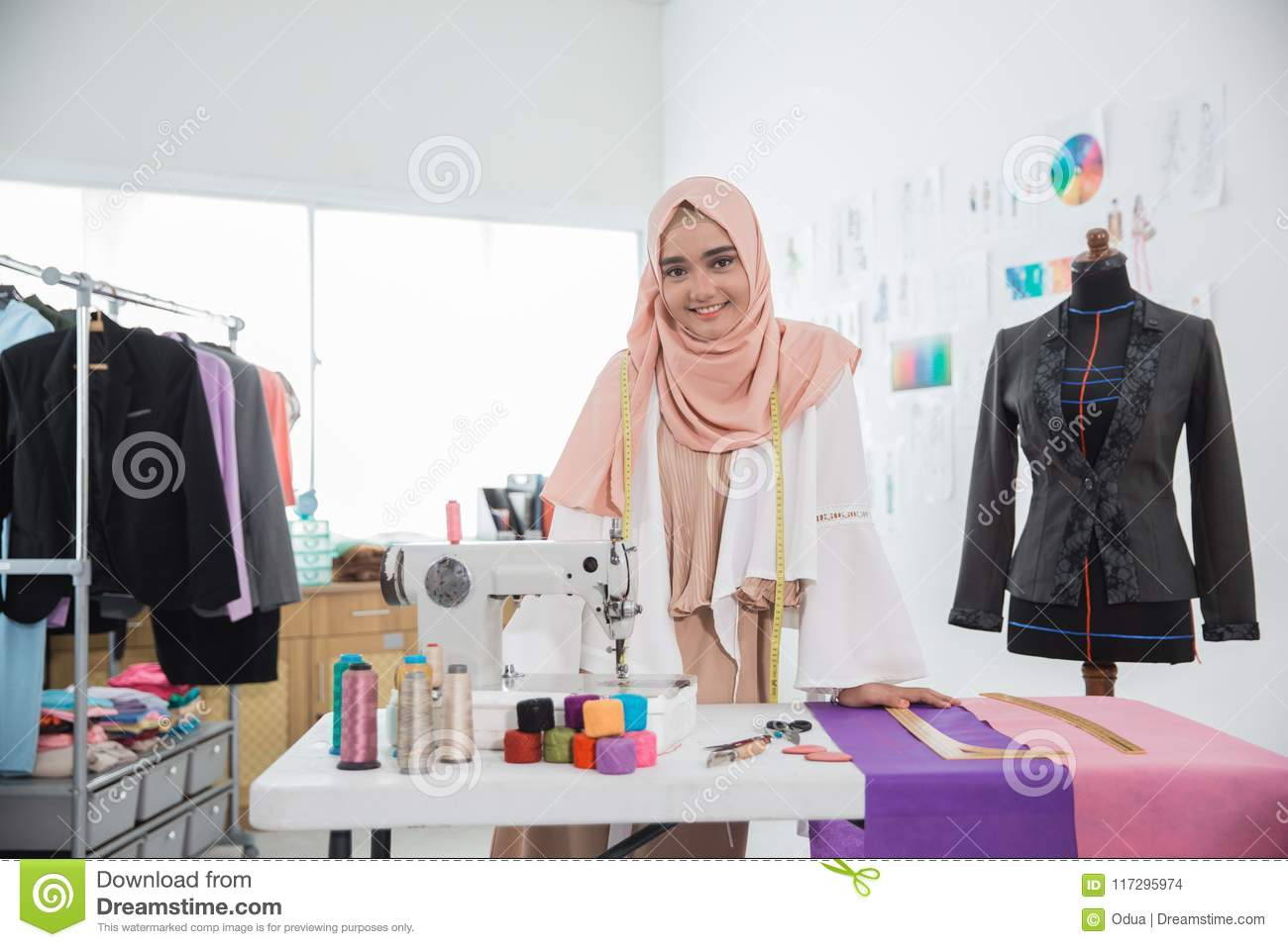 Attractive Muslim Woman Fashion Designer Stock Photo Image Of Occupation Equipment 117295974