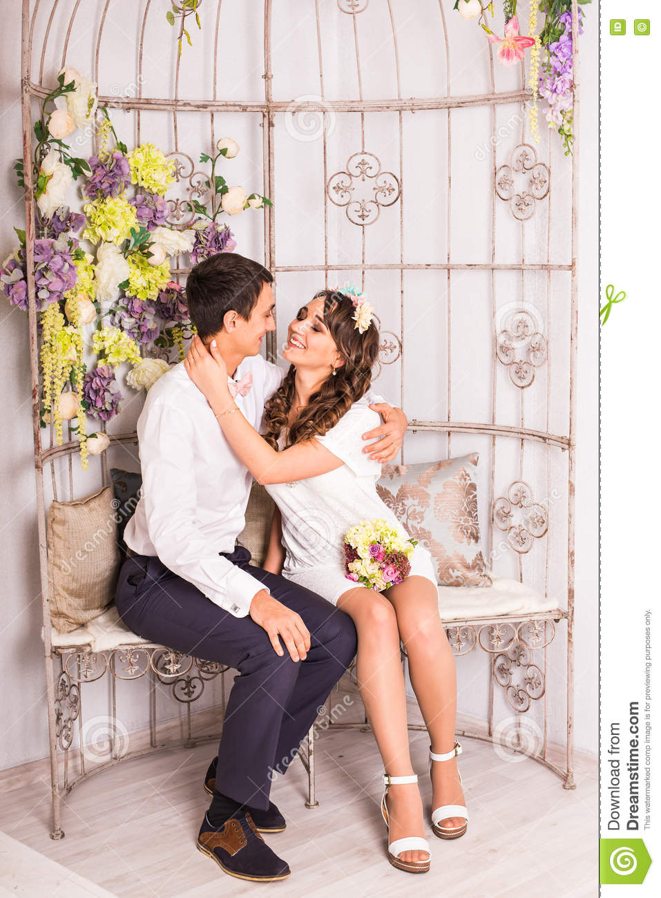 Couple Hugging Kissing Bedroom Stock Images