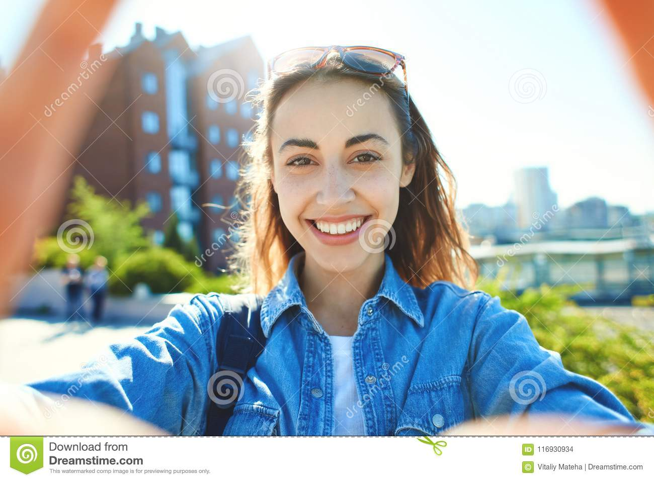 Portrait Of A Young Attractive Woman Making Selfie On The
