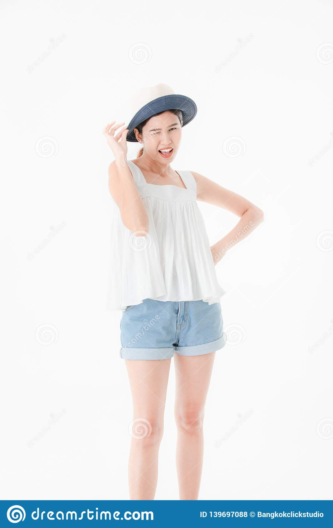 6a54b4b8d52d Young Lady In Casual Summer Outfits Stock Photo - Image of cute ...