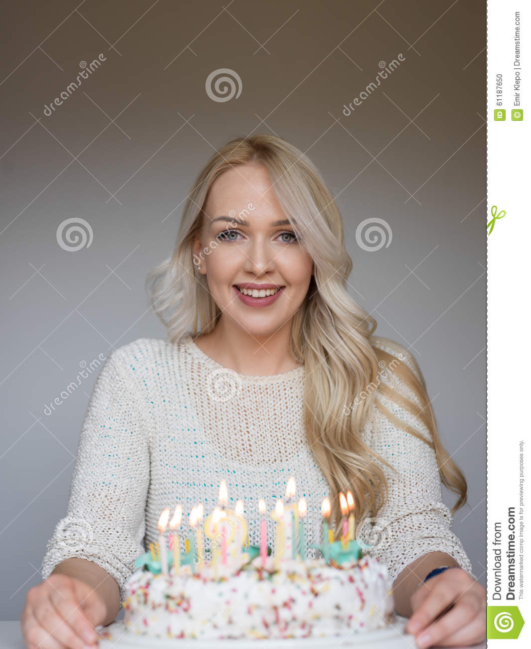 Portrait Of A Young Beautiful Blonde Girl On Birthday Stock Photo