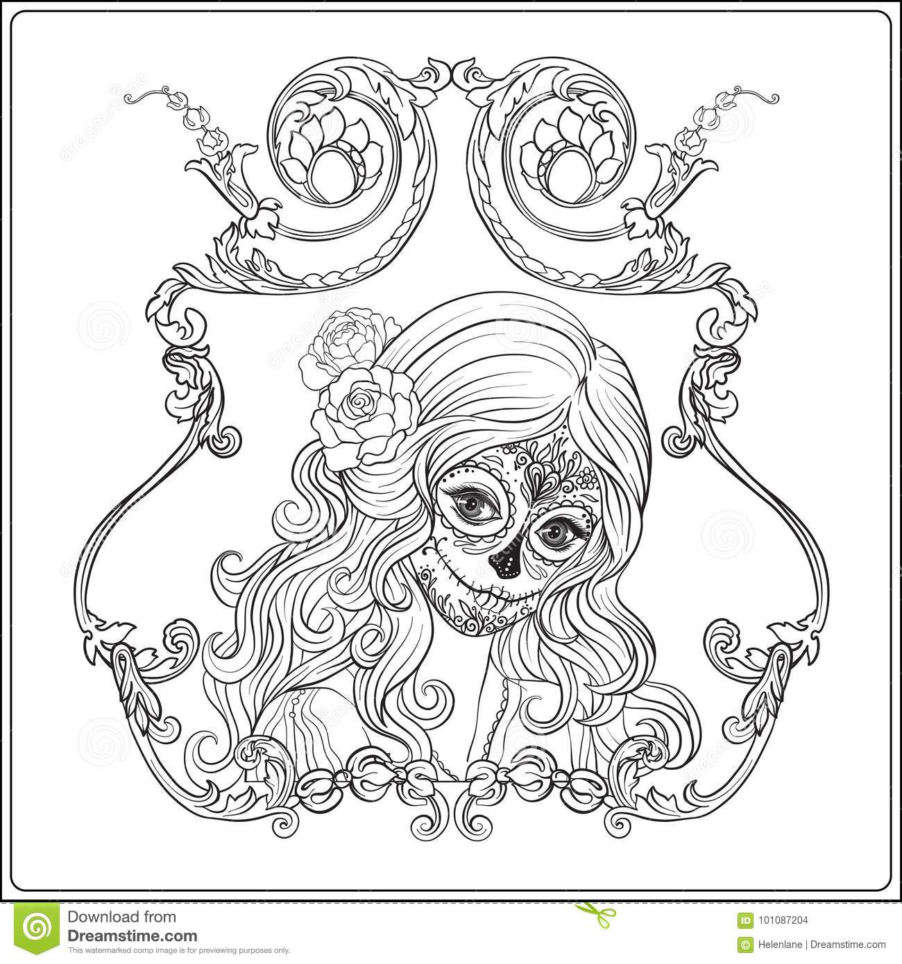 Steampunk Woman With Coffee Version 2 Vintage Adult Coloring Pages