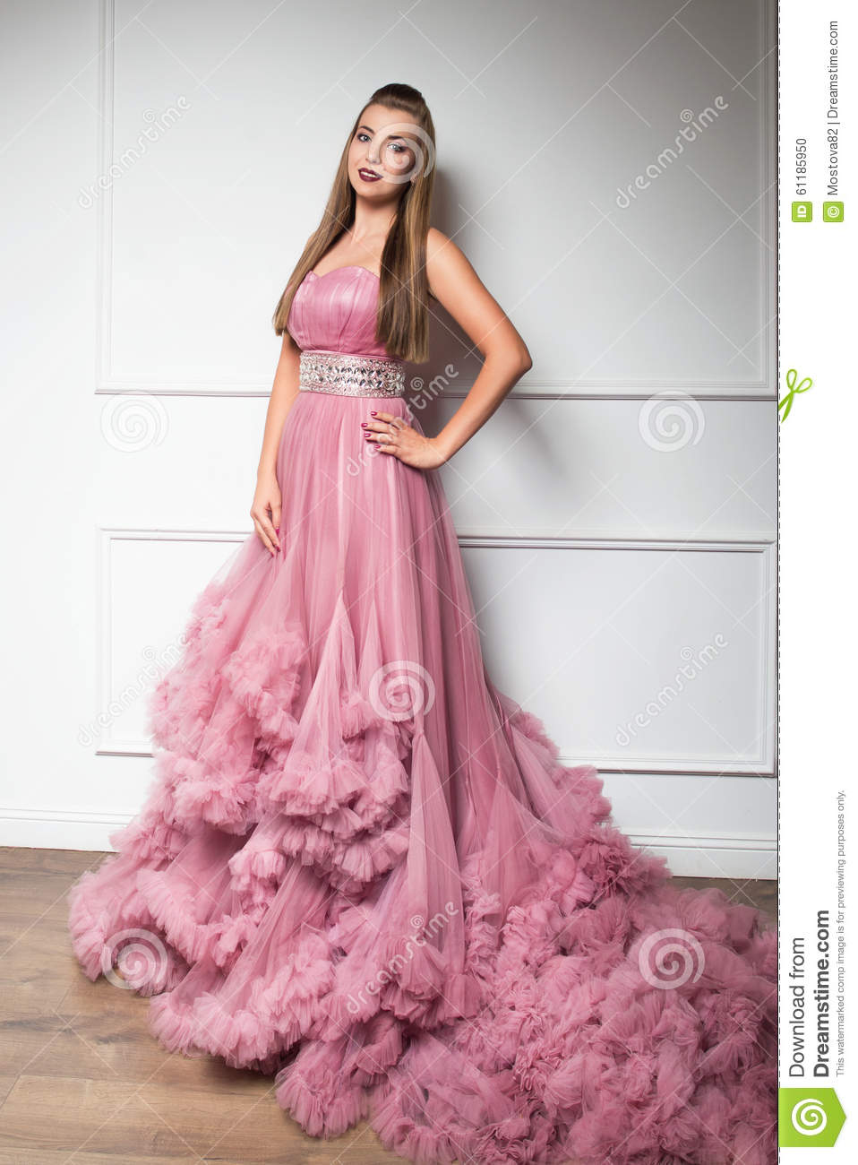 aa305d271 Portrait Of Young Beautiful Girl In Long Pink Dress Stock Photo ...