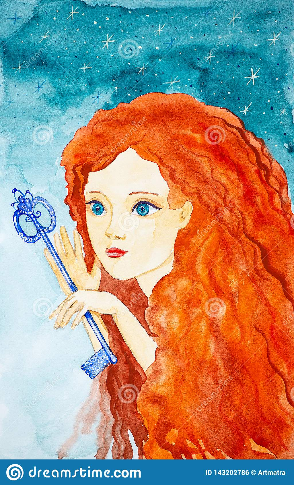 Portrait of a young beautiful girl with long red hair. The girl is holding a fabulous key.Watercolor illustrations on the