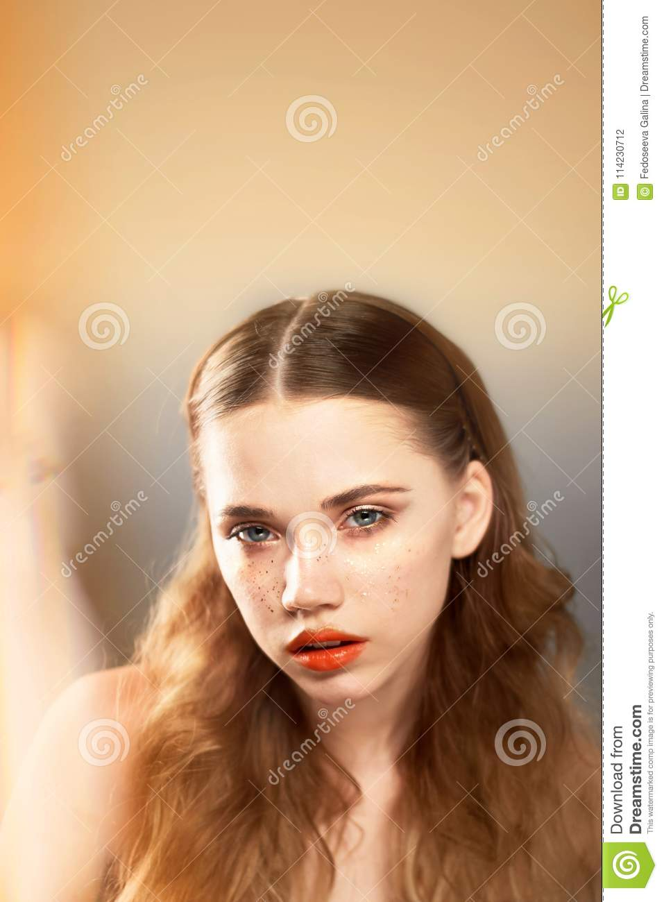 Portrait Of Young Beautiful Girl In Studio, With Professional Makeup