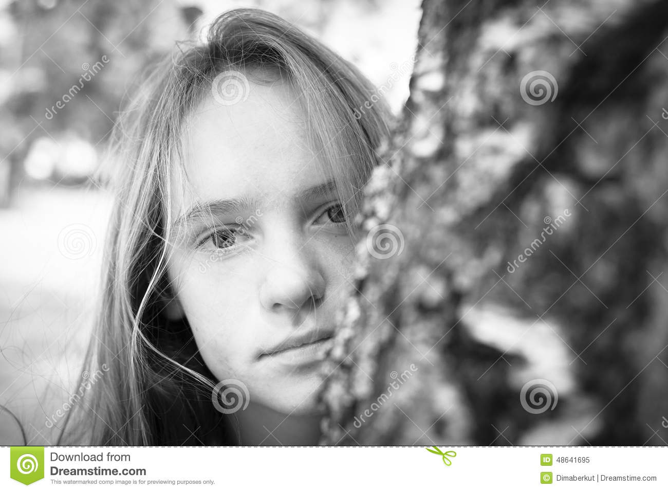 Portrait of young beautiful girls outdoors black and white photography
