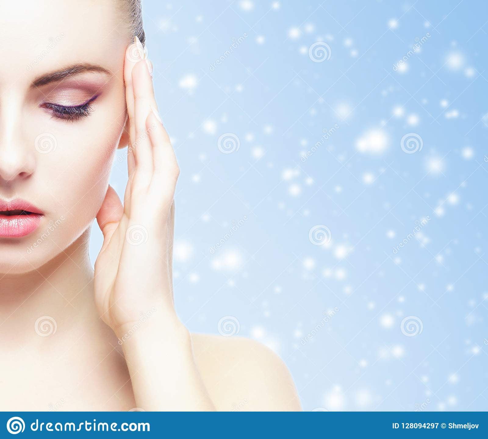 Christmas Background Portrait.Portrait Of Young Beautiful And Healthy Woman Over Winter