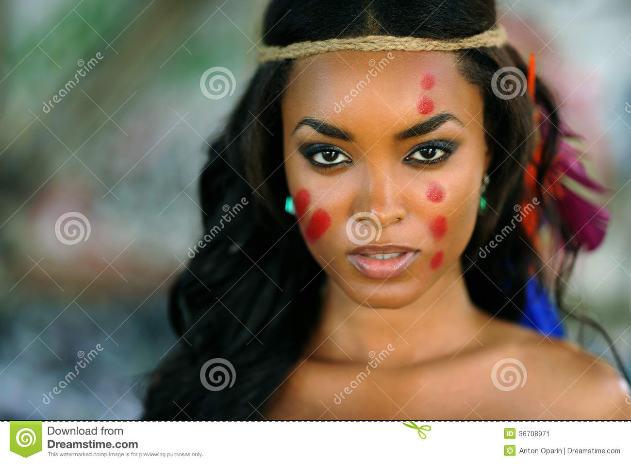portrait of young beautiful indian cherokee woman stock