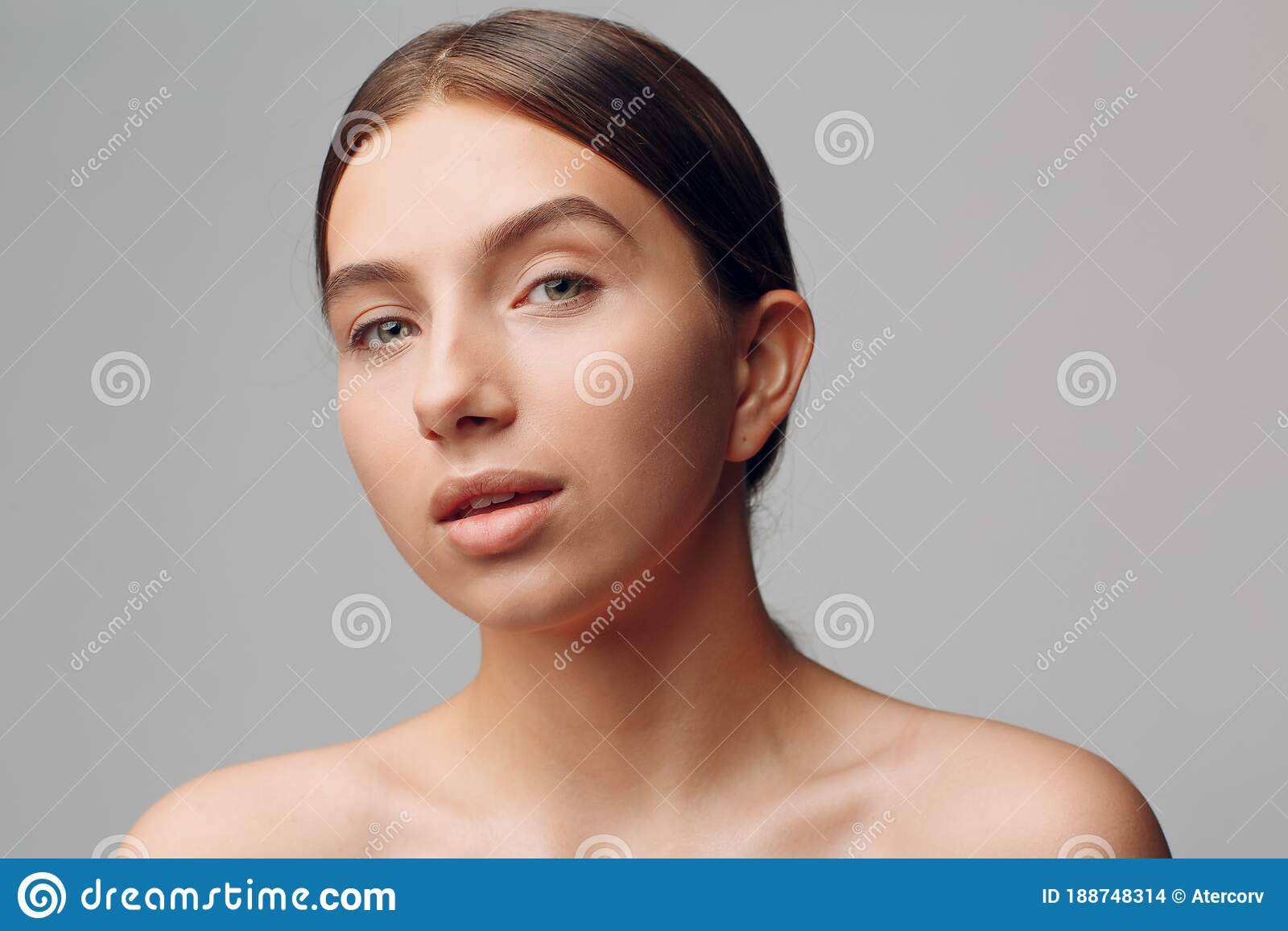 Face Of Beautiful Young Woman With Nude Makeup Visible