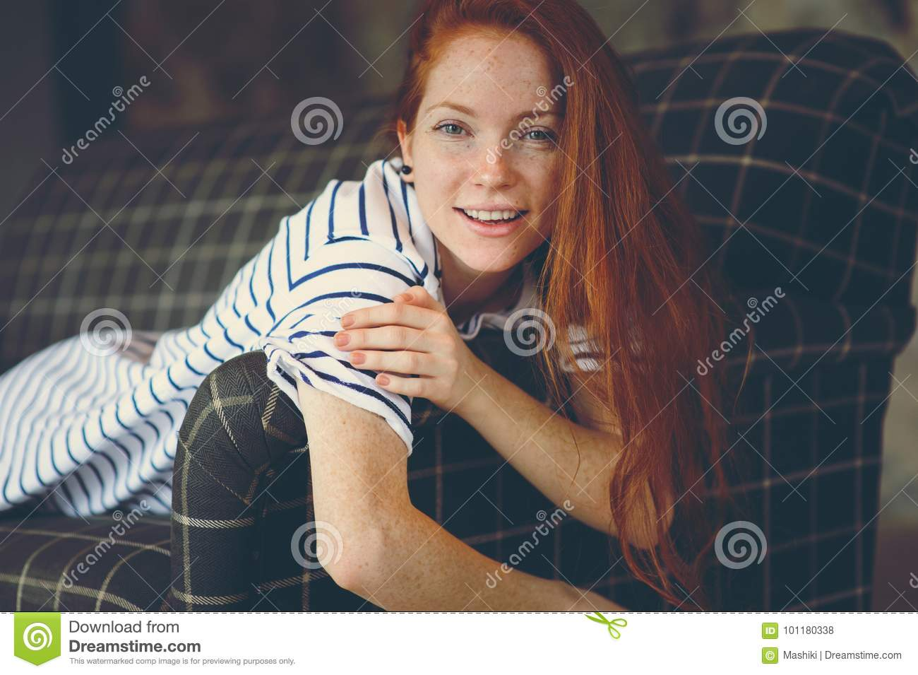 Portrait Of Dreamy Young Beautiful Redhead Woman Relaxing At Home Stock Image - Image of relax