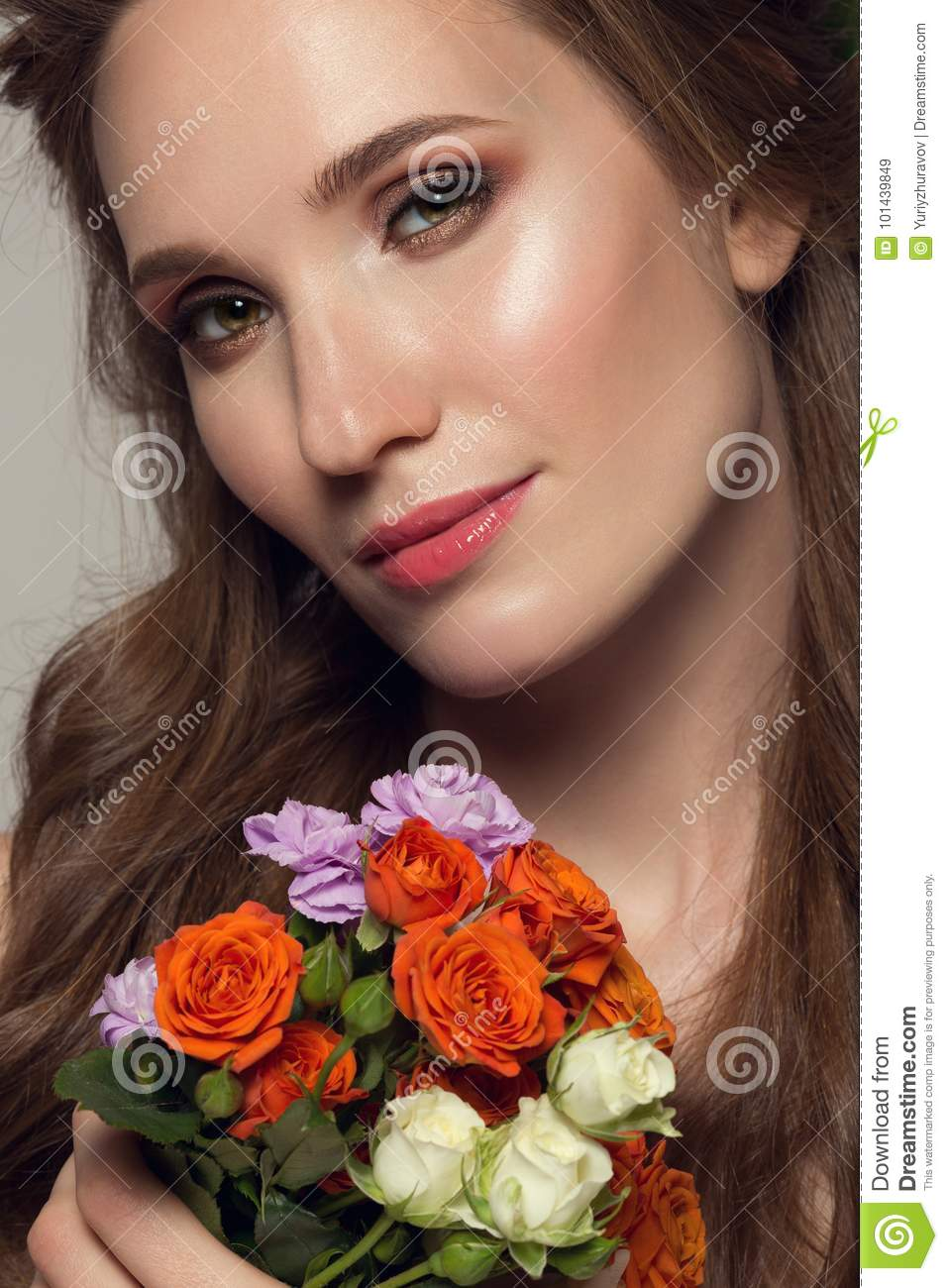 Close up portrait of young beautiful woman with flowers stock image download close up portrait of young beautiful woman with flowers stock image image of izmirmasajfo