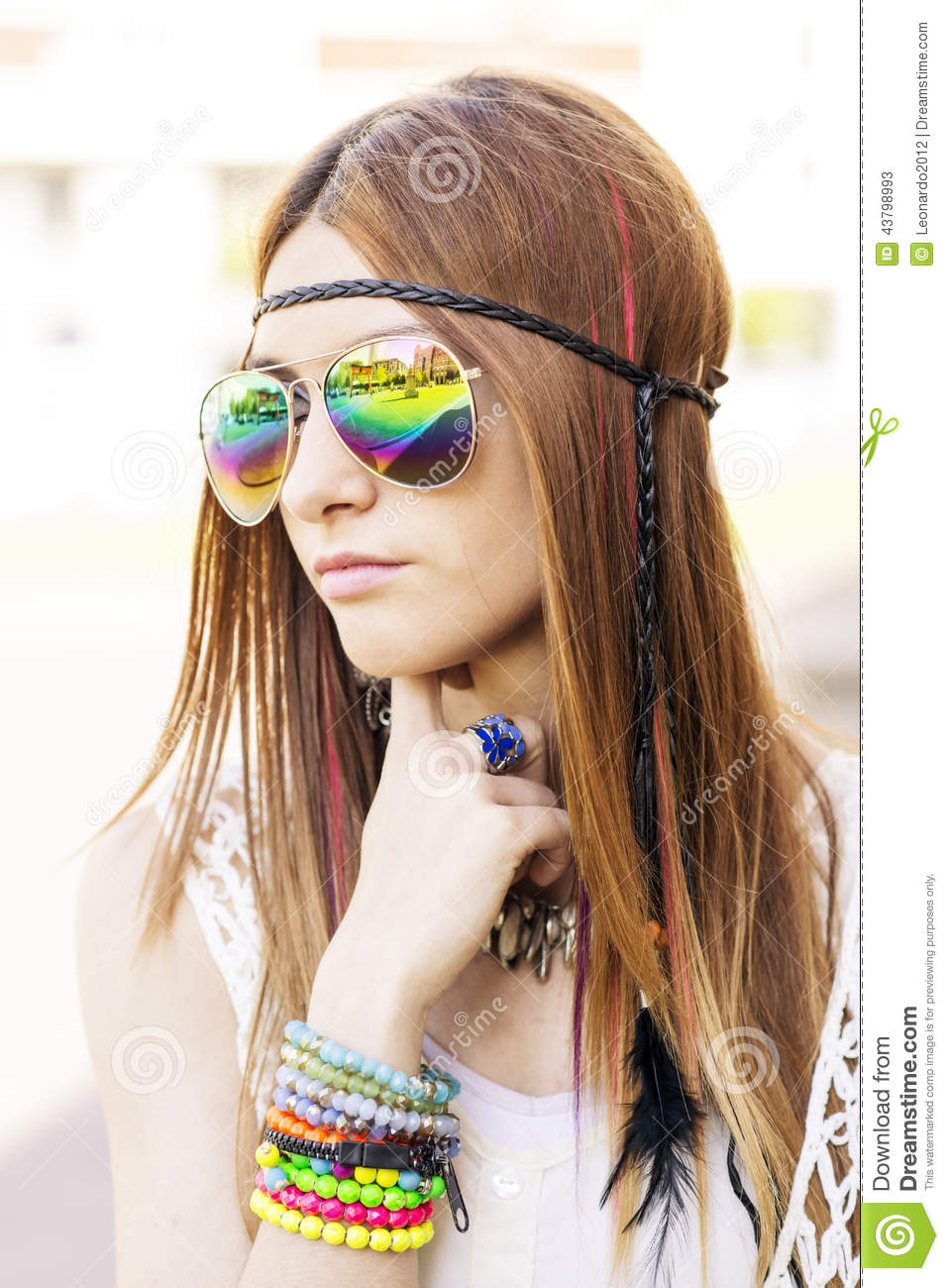 Portrait Of Young Beautiful Woman With Sunglasses Hippie