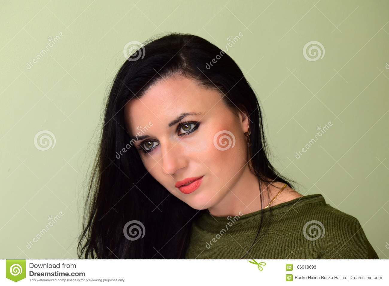 The Woman Has Green Eyes And Black Hair Stock Image Image Of Lips