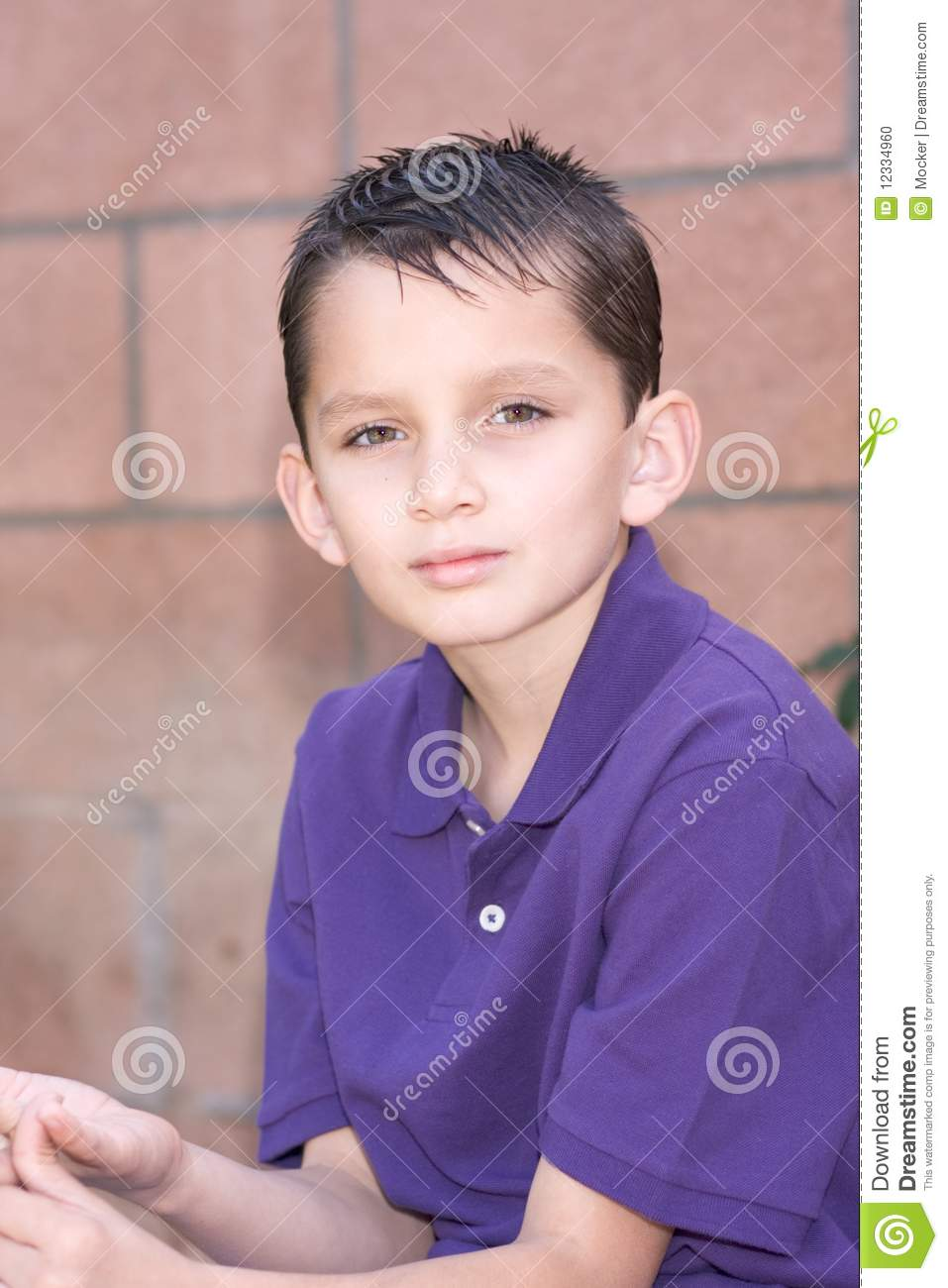 Portrait Young Biracial Boy With Short Hair Stock Photo