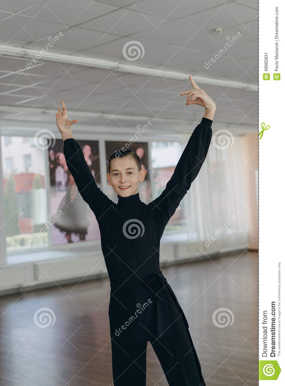 Portrait of a young boy who is engaged in dancing
