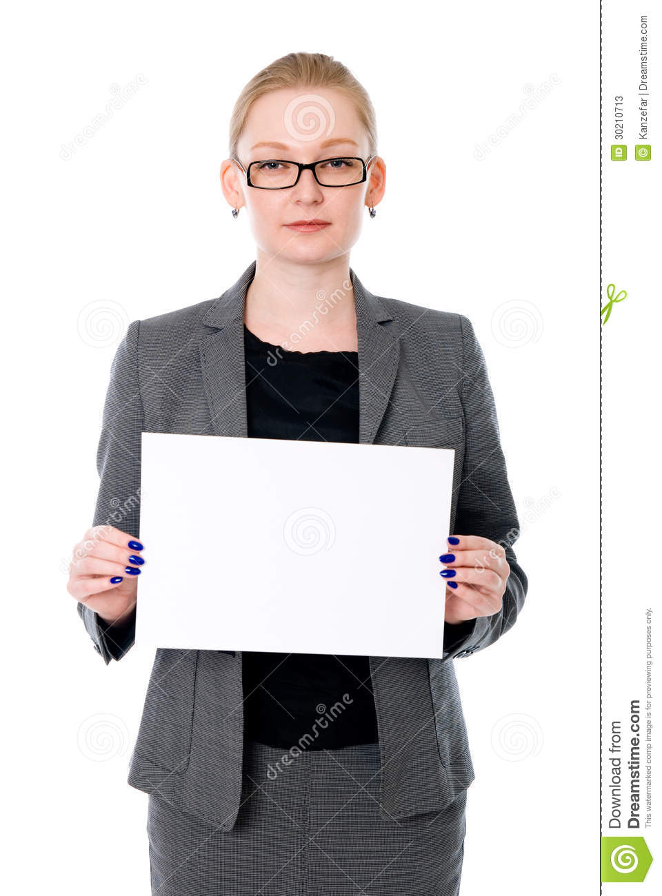 Portrait Young Business Woman Holding A White Blank Banner