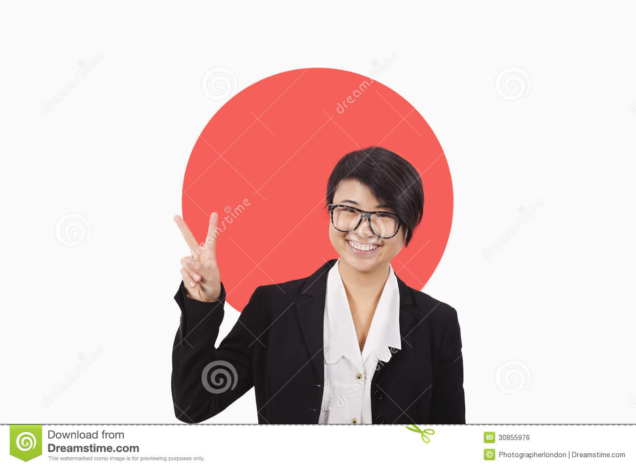 portrait of young businesswoman gesturing peace sign over japanese