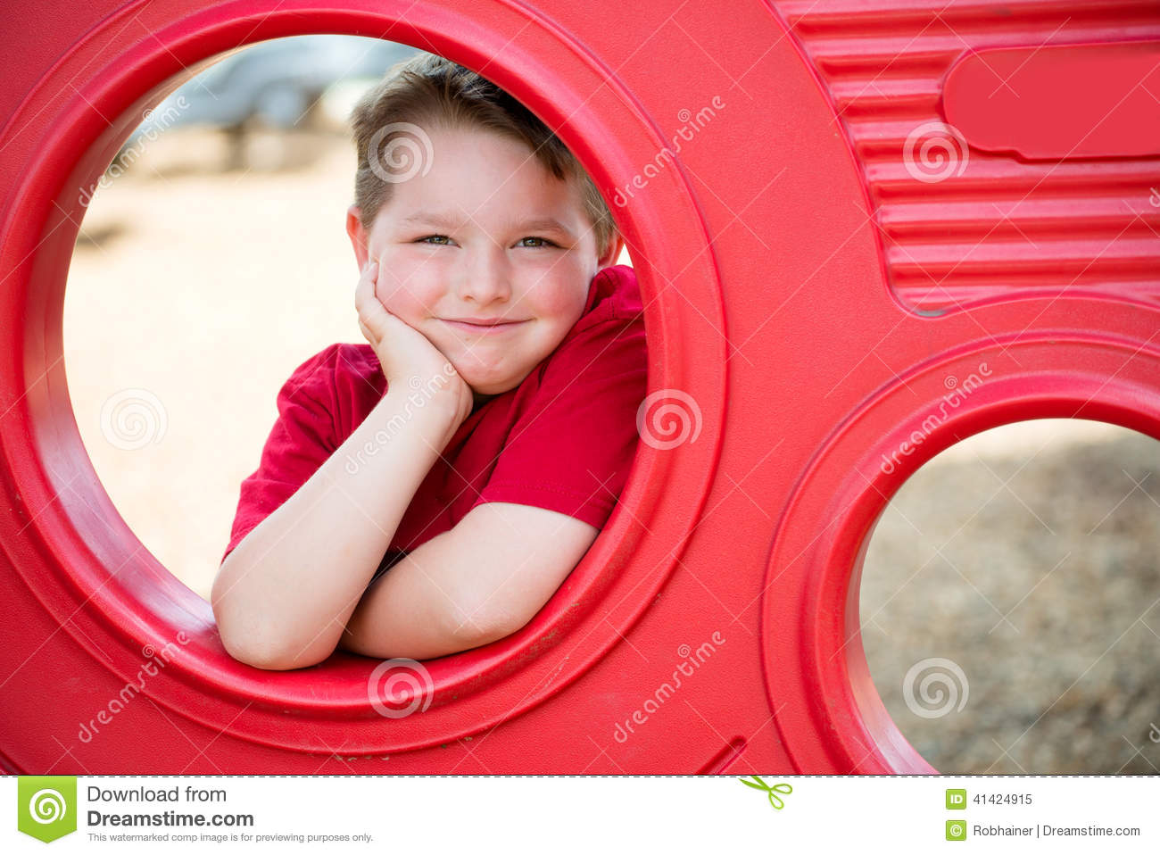 Portrait of young child on playground