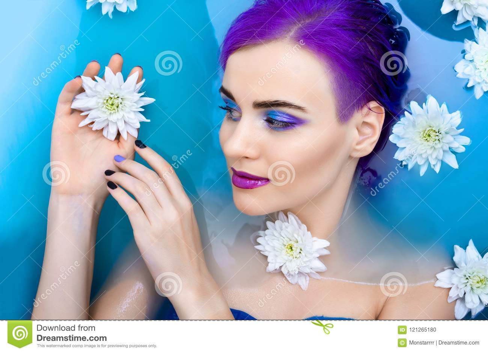 Portrait Of Young Cute Female Fashion Luxury Model In Bathtub With ...