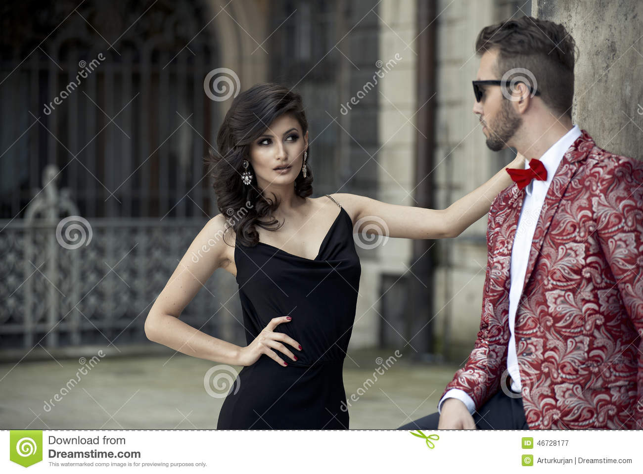 Portrait of young elegant couple in love