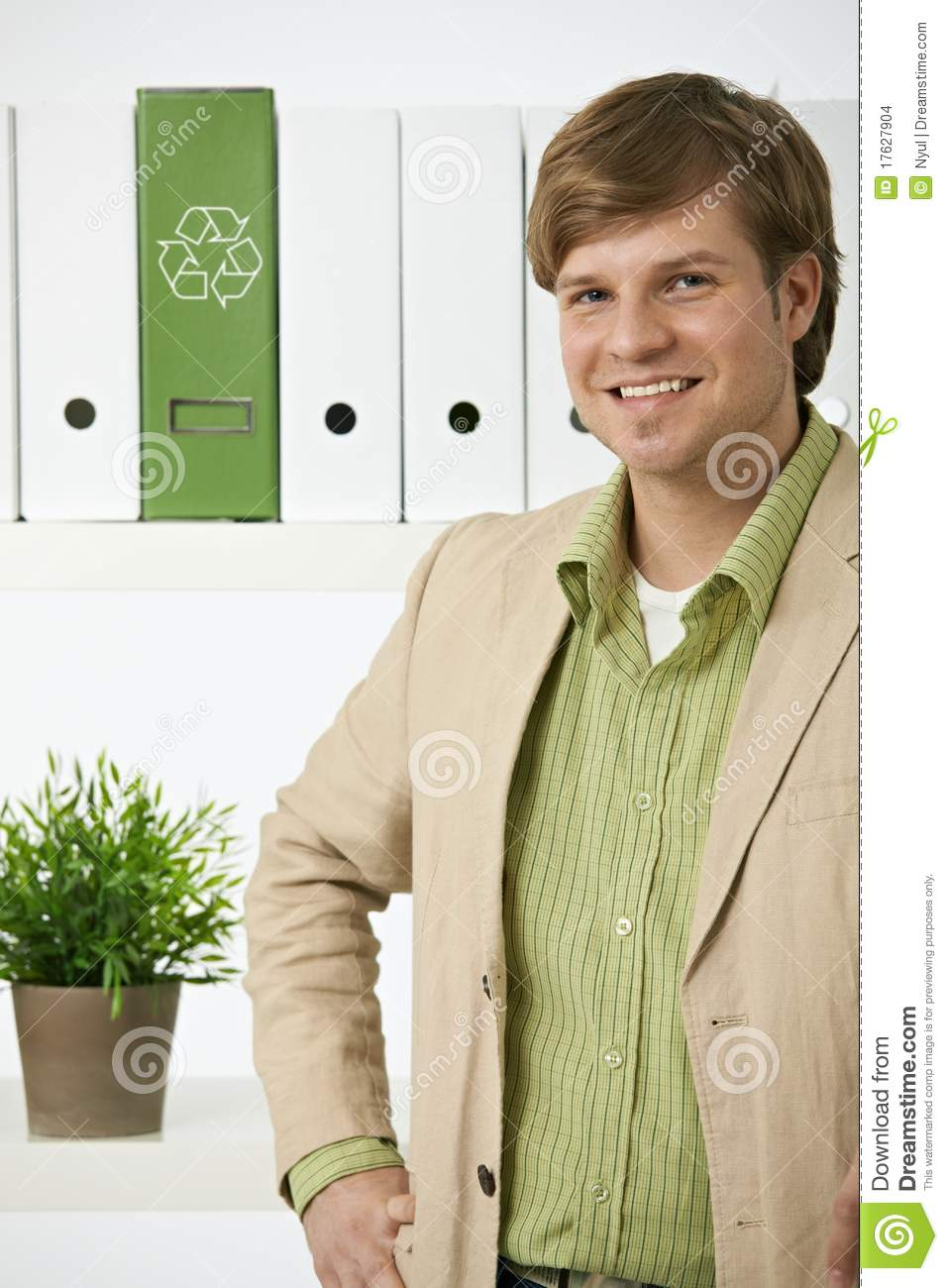 Portrait of young environmentalist man