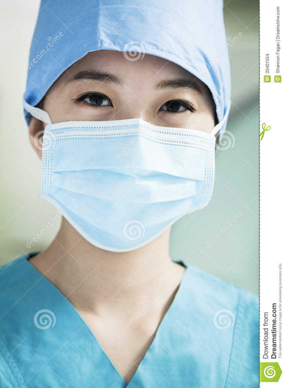 Of Surgeon Mask Portrait The Surgical Wearing Female In Young