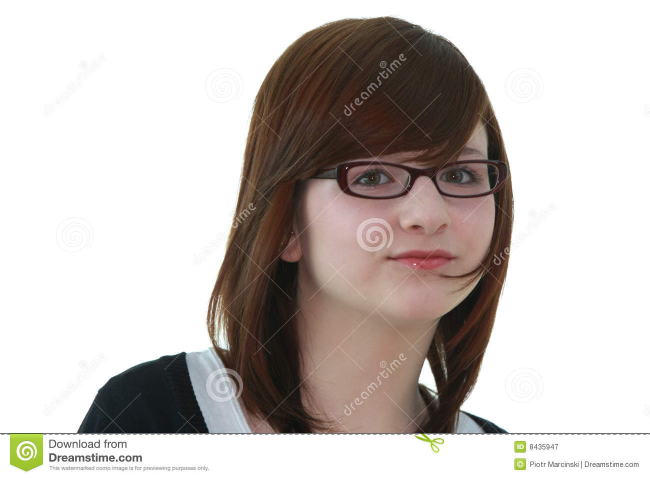 Portrait of young female teenager in glasses