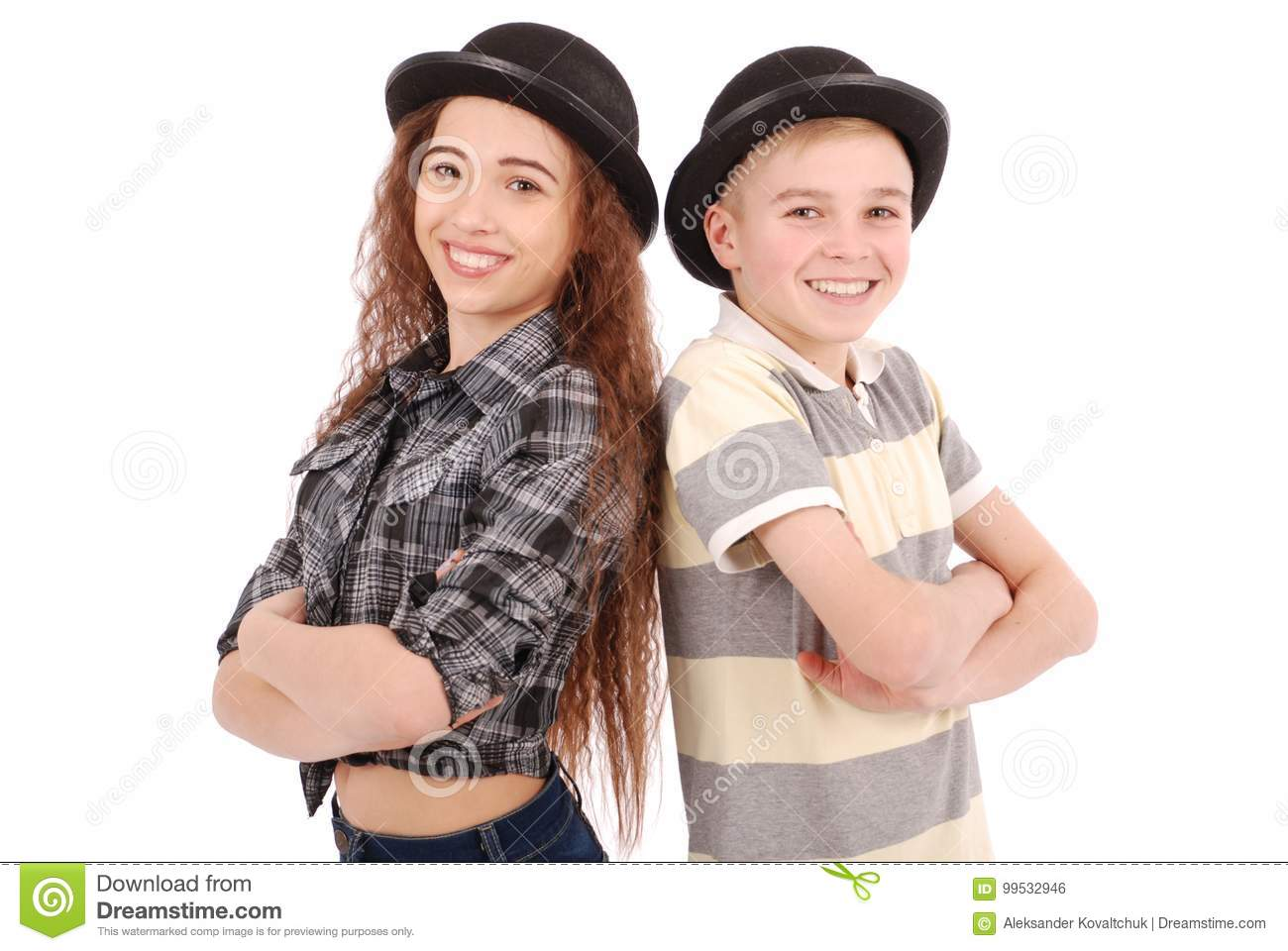 c548ff40f50 Portrait Of Young Girl And Boy Posing In Black Bowler Hat Stock ...