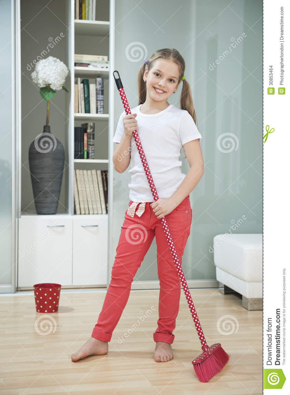 portrait of a young girl sweeping floor with broom stock photo image of housework hardwood 30853464 dreamstime com